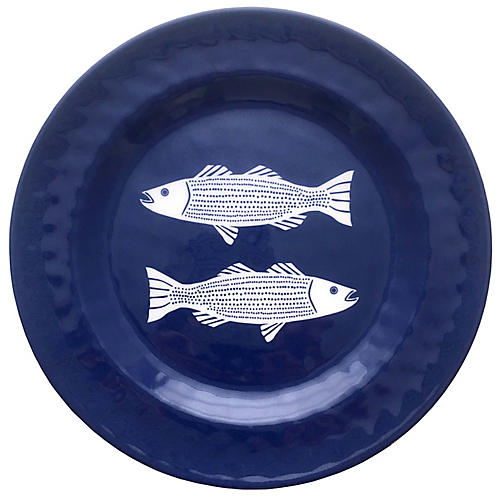Striper Melamine Side Plate, Blue/White