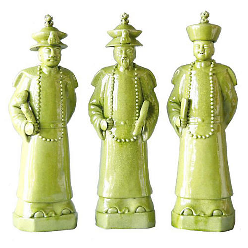 Asst. of 3 Qing Emperor Figurines, Lime Green