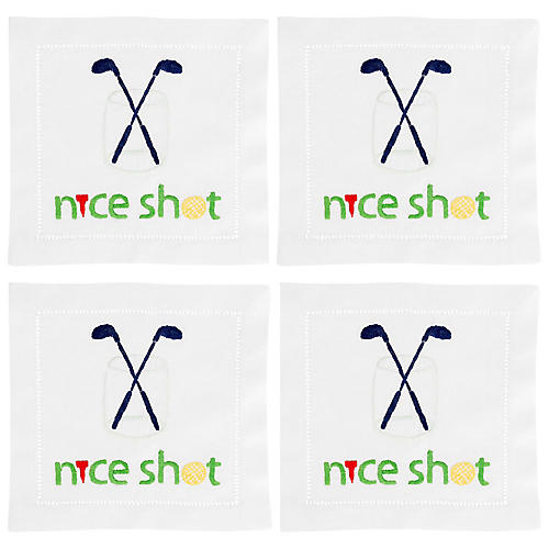 S/4 Nice Shot Cocktail Napkins, White/Multi