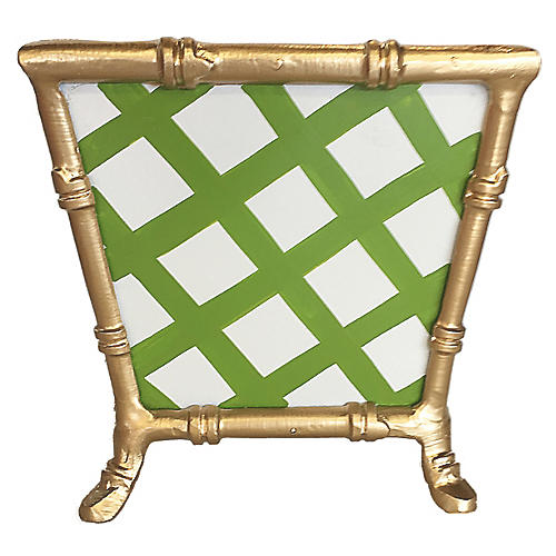 "8"" Bamboo-Style Lattice Cachepot, Green"
