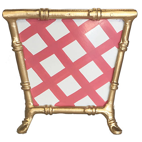 "8"" Bamboo-Style Lattice Cachepot, Pink"