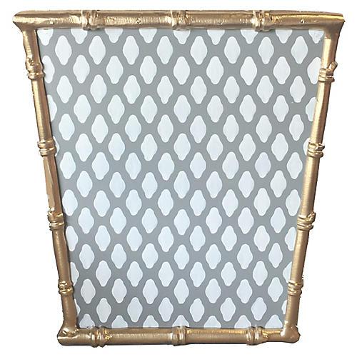 """12"""" Bamboo-Style Wastebasket, Gray/White"""