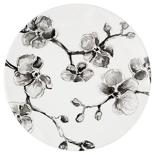 Orchid Melamine Dinner Plate, Black/White