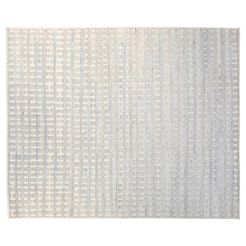 8'x10' Brooklyn Hand-Knotted Rug, Ivory/Sky