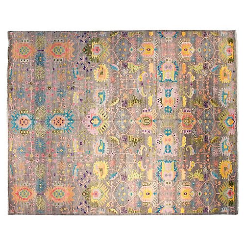 8'x10' Sari Liam Hand-Knotted Rug, Gray/Multi