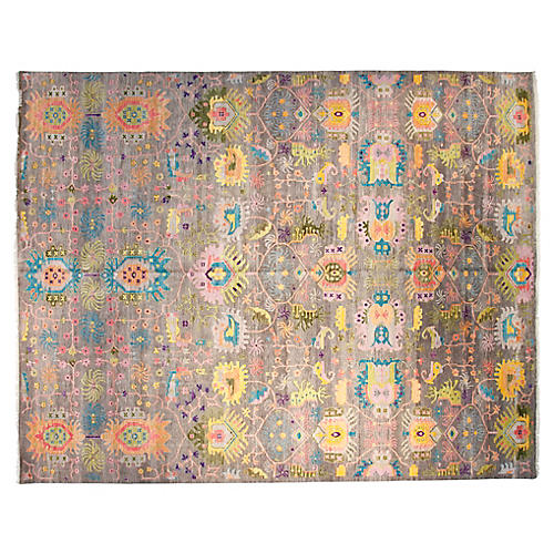 12'x15' Sari Liam Hand-Knotted Rug, Gray/Multi