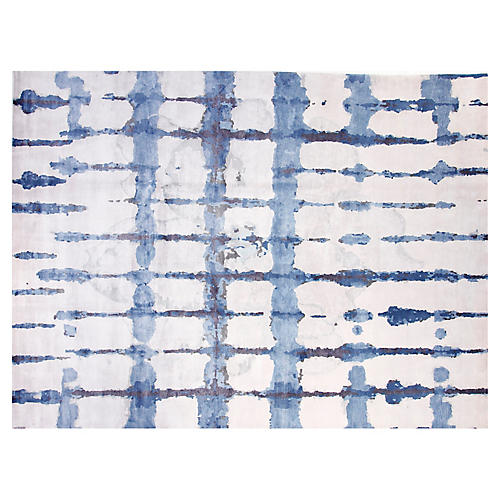 8'x10' Ocean Hand-Knotted Rug, White/Blue
