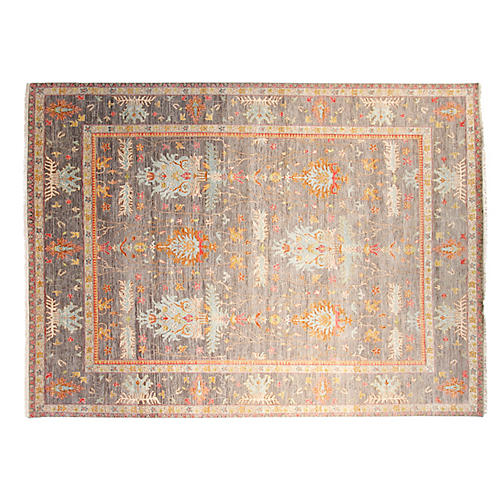 9'x12' Sari Oushak Hand-Knotted Rug, Gray