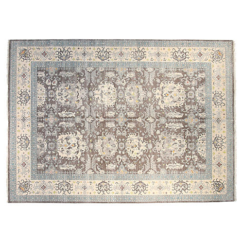 9'x12' Sari Tristan Hand-Knotted Rug, Gray/Ivory