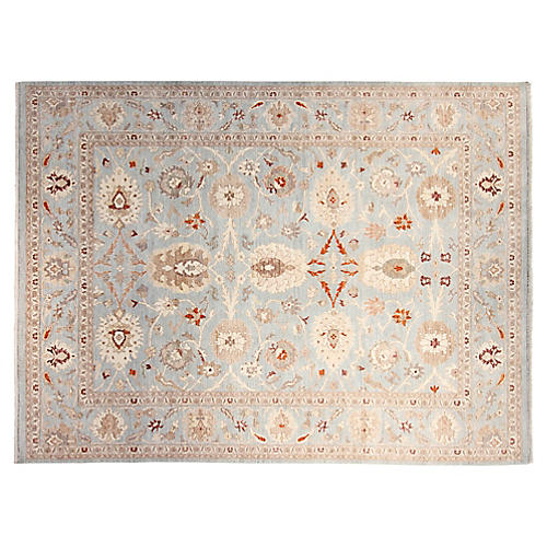 10'x14' Peshawar Hand-Knotted Rug, Sky/Multi