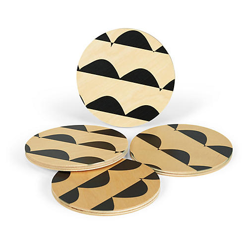 Asst. of 4 Curves Coasters, Black/Natural