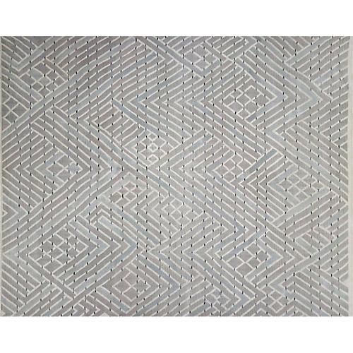 "10'3""x12'8"" Kilim Flat-Weave Rug, Taupe/Gray"