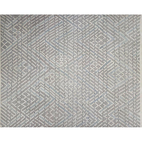 "10'3""x12'8"" Kilim Flat-Weave Rug, Taupe/Gray"