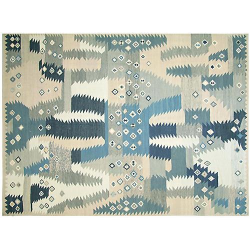 """9'2""""x12'6"""" Kilim Flat-Weave Rug, Blue/Ivory"""