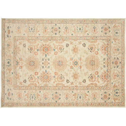 """5'4""""x7'5"""" Persian Sultanabad Rug, Rust/Ivory"""