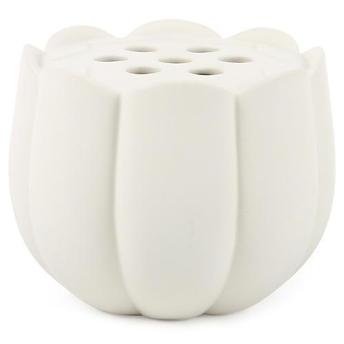 """5"""" Standing Stems Petal Vase, Matte White"""
