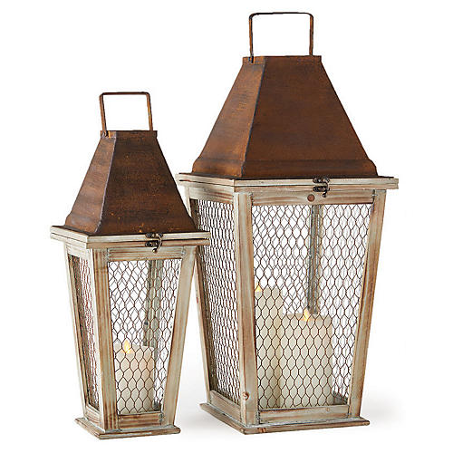 Asst. of 2 Monticello Outdoor Lanterns, Natural