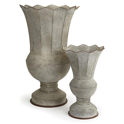 Asst. of 2 Galvanized Urns, Whitewash