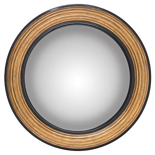 Jackson Convex Wall Mirror, Gold/Ebony