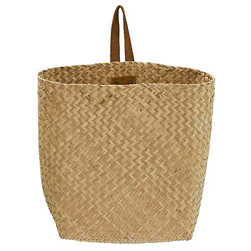 "12"" Hanging Book Basket, Natural"