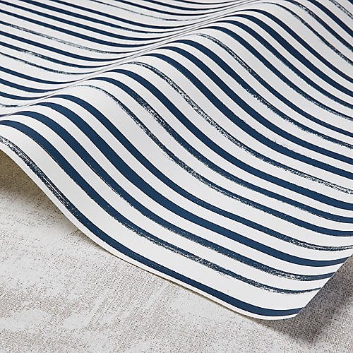 Stripes Wallpaper, White/Powdery Navy