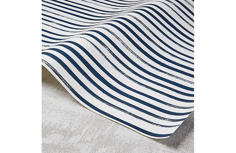 Stripes Wallpaper, White/Powdery Navy
