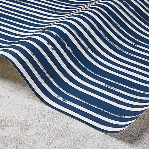 Stripes Wallpaper, Powdery Navy/White