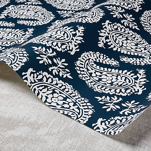Paisley Wallpaper, Powdery Navy/White