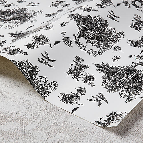 Chinoiserie Wallpaper, White/Black