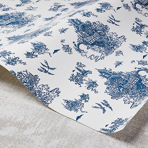 Chinoiserie Wallpaper, White/Navy