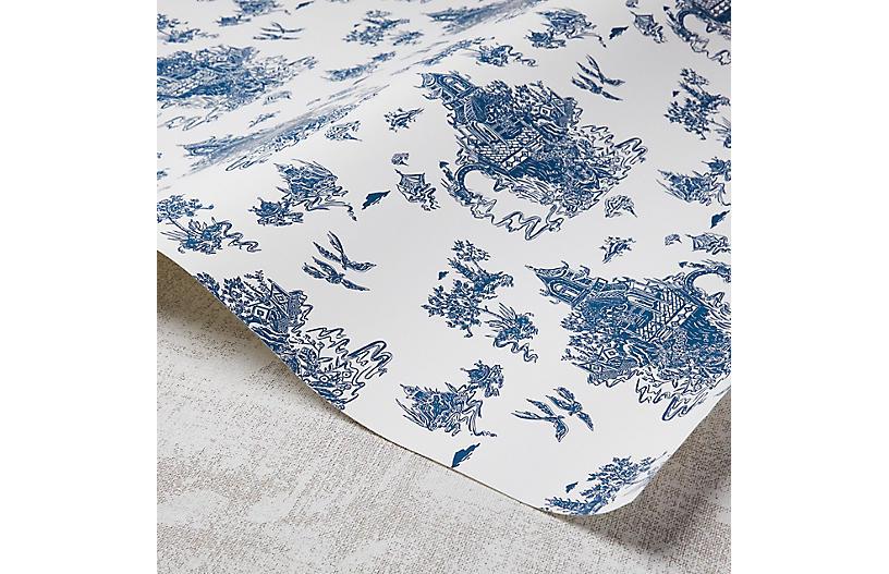 Chinoiserie Wallpaper, White/Navy