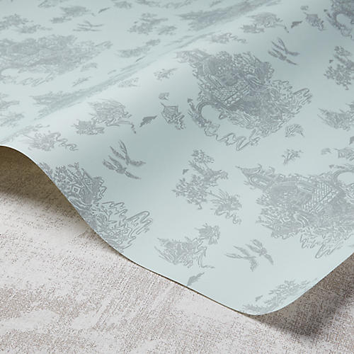 Chinoiserie Wallpaper, Hydrangea/Gray