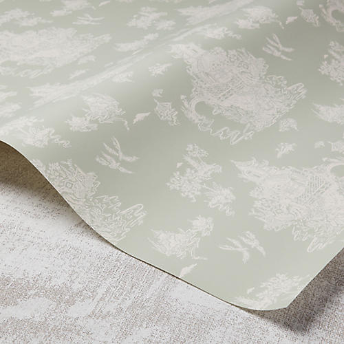 Chinoiserie Wallpaper, Taupe/Rose Quartz