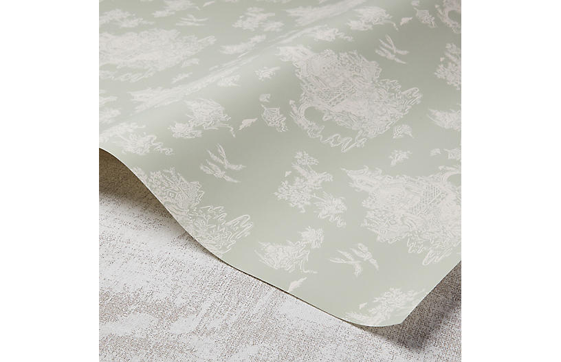 Chinoiserie Wallpaper, Taupe/Rose Quartz