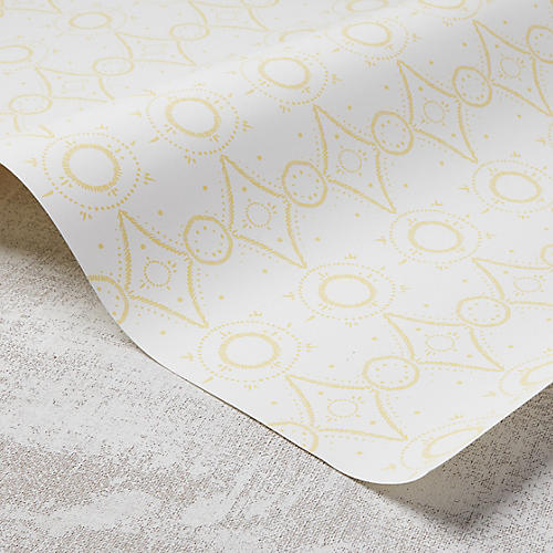 Moroccan Wallpaper, White/Meyer Lemon