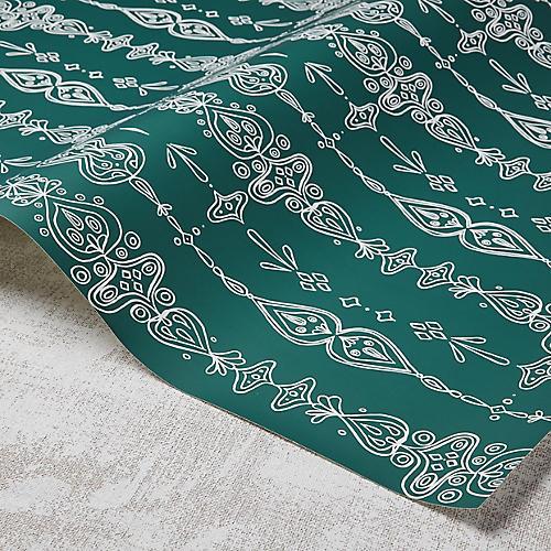 Moroccan Whimsy Wallpaper, Greenwich Green/White