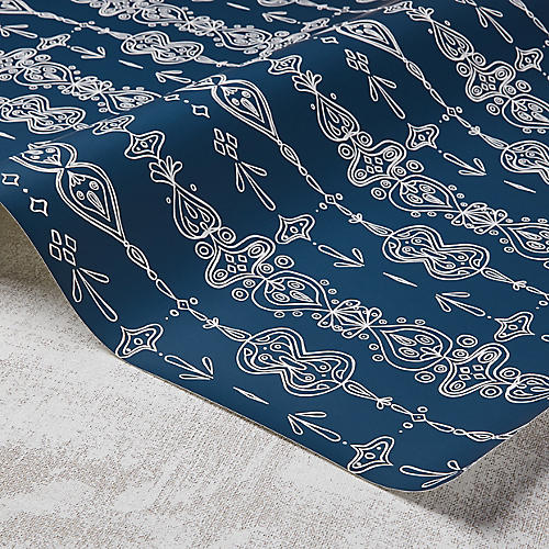 Moroccan Whimsy Wallpaper, Powdery Navy/White