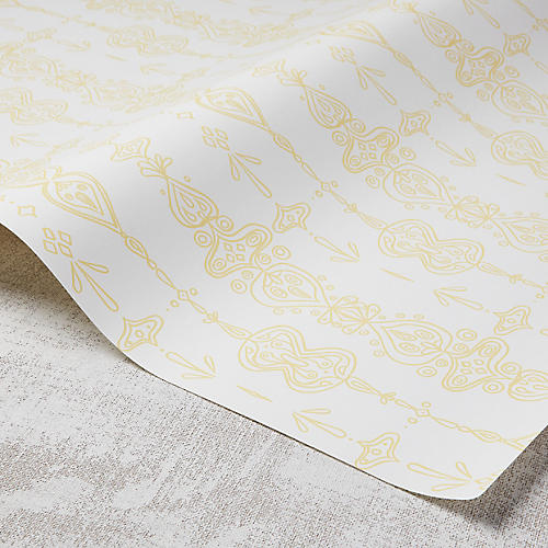 Moroccan Whimsy Wallpaper, White/Meyer Lemon