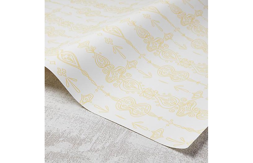 Moroccan Whimsy Wallpaper, White/Meyer Lemon