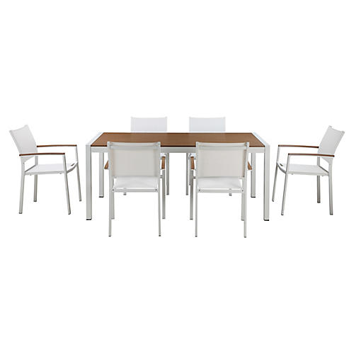 Marion 7-Pc Dining Set, White/Natural