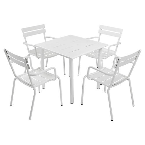 Slate 5-Pc Dining Set, White