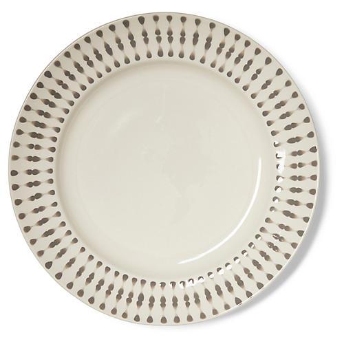 S/4 Cua Dai Dinner Plates, Gray/Ivory