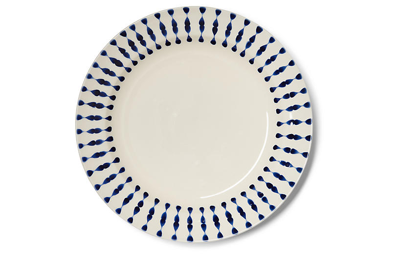 S/4 Cua Dai Salad Plates, Navy/Ivory