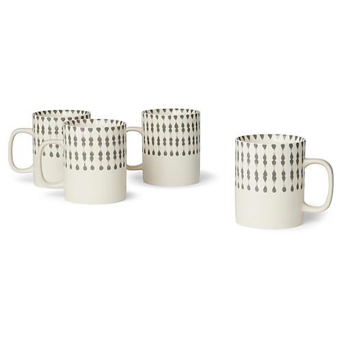 S/4 Cua Dai Mugs, Gray/Ivory