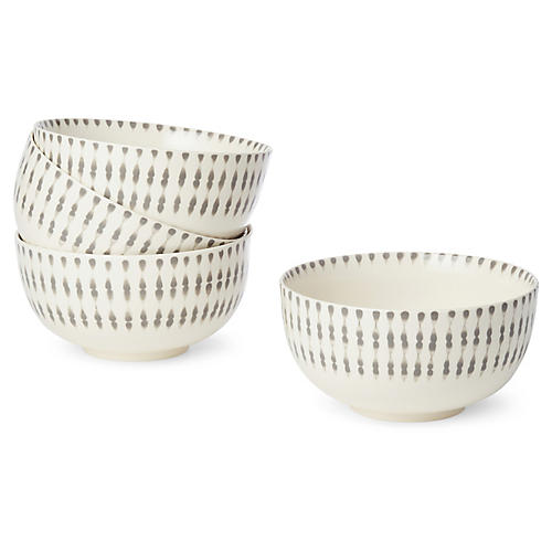 S/4 Cua Dai Dinner Bowls, Gray/Ivory
