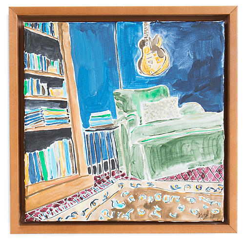 Kate Lewis, Green Chair with Guitar
