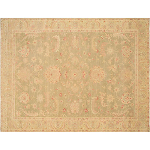 """10'1""""x13'7"""" Sultanabad Rug, Green/Red"""