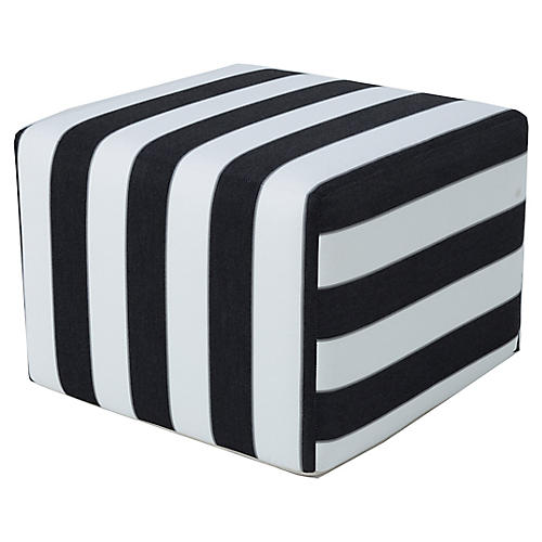 Frances Square Pouf, Black/White