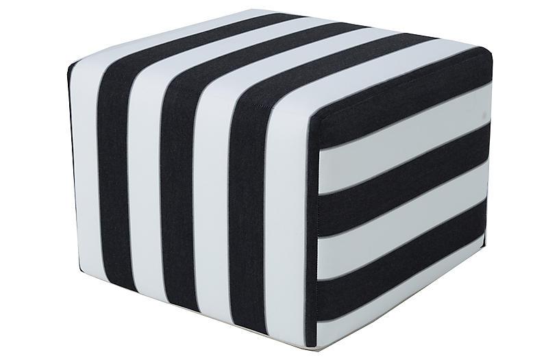 Lola Square Pouf, Black/White