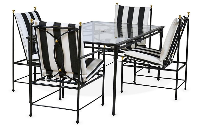 Frances 7-Pc Dining Set, Black/White Cabana Stripe
